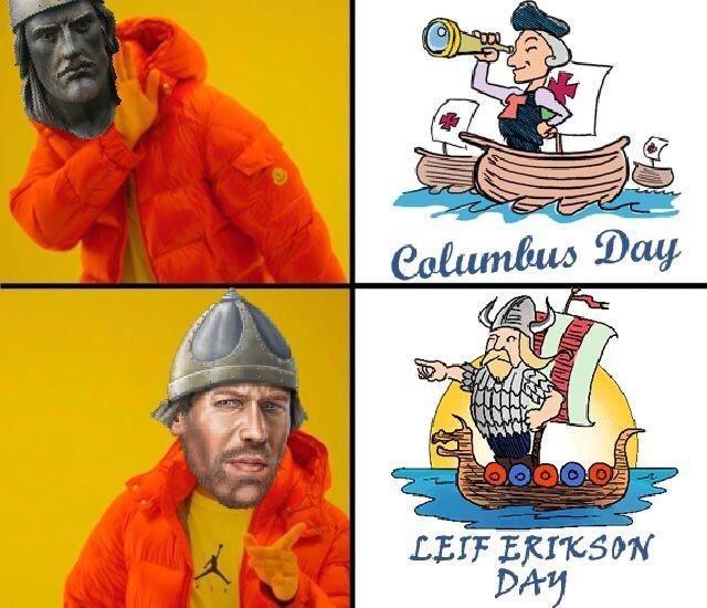 Cartoon - Columbus Day LEIF ERIKSON DAY