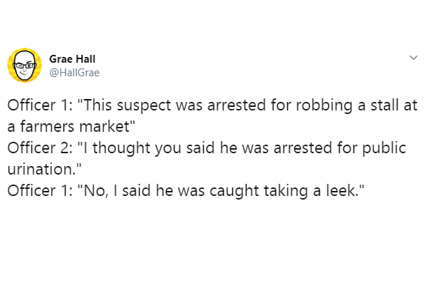 """Text - Grae Hall @HallGrae Officer 1: """"This suspect was arrested for robbing a stall at a farmers market"""" Officer 2: """"I thought you said he was arrested for public urination."""" Officer 1: """"No, I said he was caught taking a leek."""""""