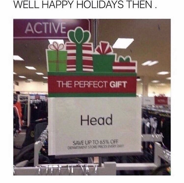 Text - WELL HAPPY HOLIDAYS THEN АCTIVE, THE PERFECT GIFT Head SAVE UP TO 65% OFF DEPARTMENT STORE PRICESEVERY DAY