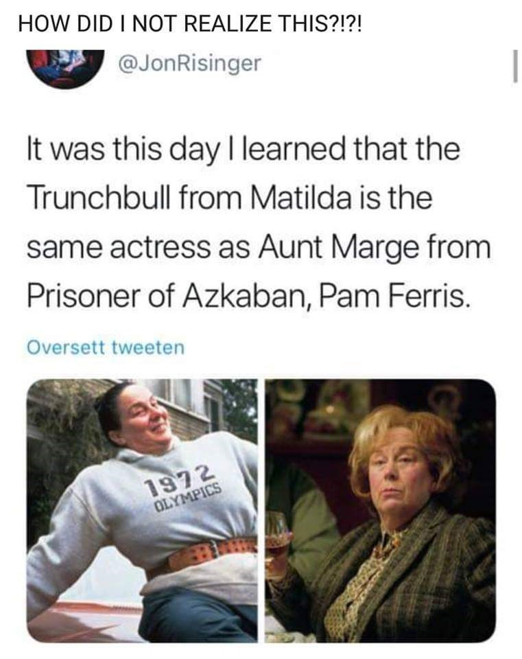 Text - HOW DID I NOT REALIZE THIS?!?! @JonRisinger It was this day I learned that the Trunchbull from Matilda is the same actress as Aunt Marge from Prisoner of Azkaban, Pam Ferris Oversett tweeten 1972 OLYMPICS