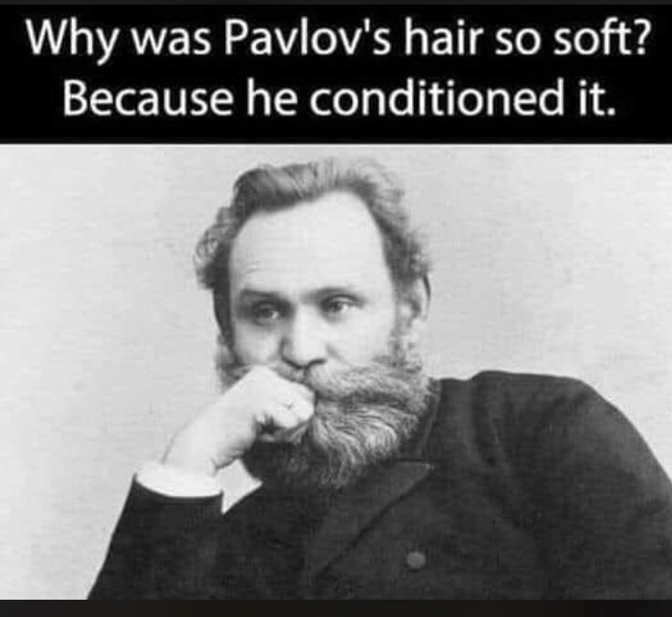 Hair - Why was Pavlov's hair so soft? Because he conditioned it.