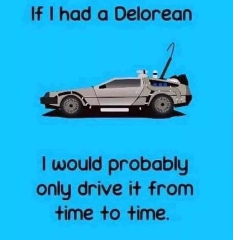 Motor vehicle - If I had a Delorean I would probably only drive it from time to time.