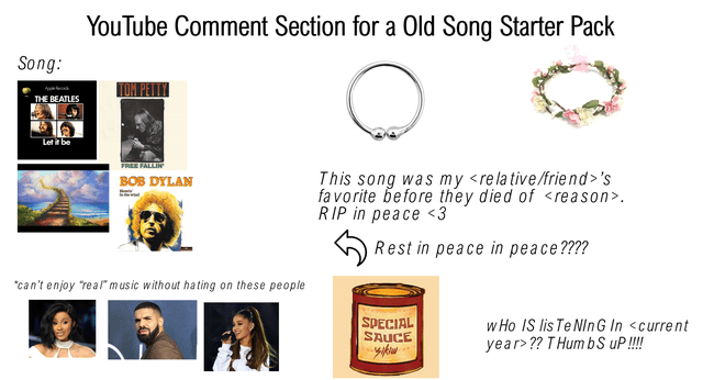 Text - YouTube Comment Section for a Old Song Starter Pack Song: Р THE BEATLES Let i be FREE FALLIN This song was my <relative/friend>'s fa vorite before they died of <reason>. RIP in peace<3 BOB DYLAN Rest in peace in peace???? can't enjoy real music without hating on these people SPECIAL SAUCE w Ho IS lis Te NInG In <current year>?? T Hum bS uP!!!!