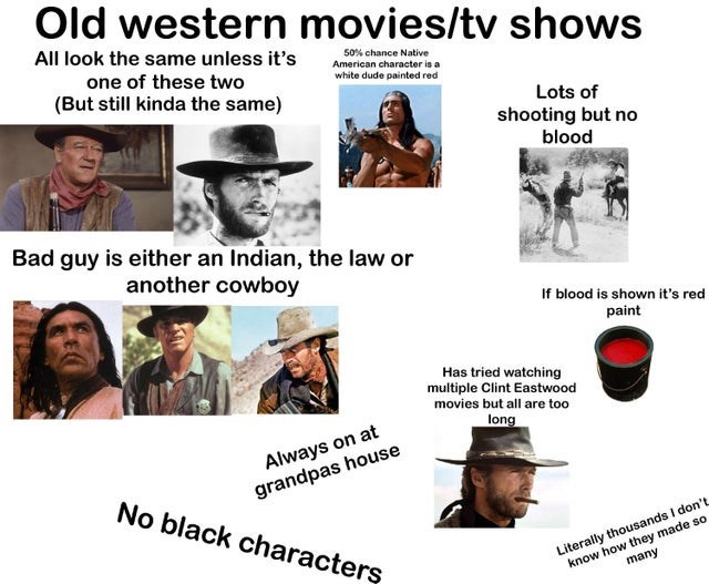 Text - Old western movies/tv shows All look the same unless it's 50% chance Native one of these two (But still kinda the same) American character is a white dude painted red Lots of shooting but no blood Bad guy is either an Indian, the law or another cowboy If blood is shown it's red paint Has tried watching multiple Clint Eastwood movies but all are too long Always on at grandpas house No black characters know how they made so many Literally thousands I don't