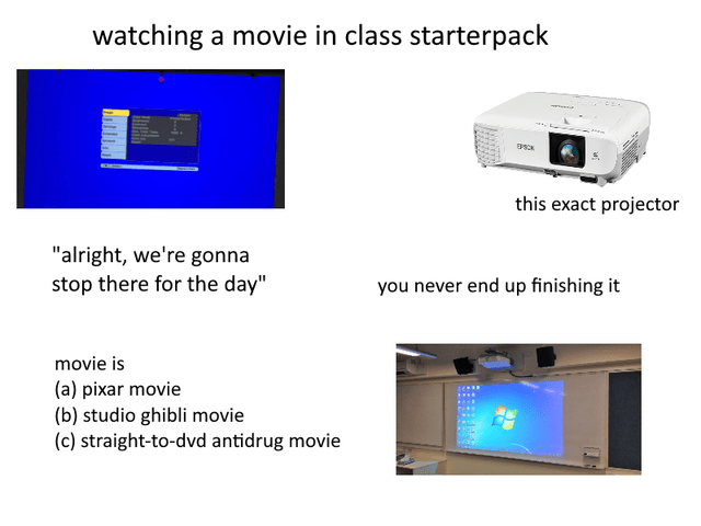 "Product - watching a movie in class starterpack this exact projector ""alright, we're gonna stop there for the day"" you never end up finishing it movie is (a) pixar movie (b) studio ghibli movie (c) straight-to-dvd antidrug movie"