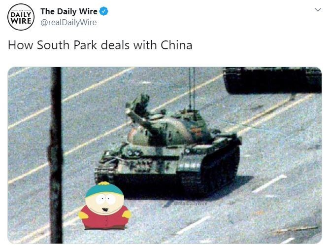 Tank - DAILY The Daily Wire WIRE @realDailyWire How South Park deals with China Orabaynt