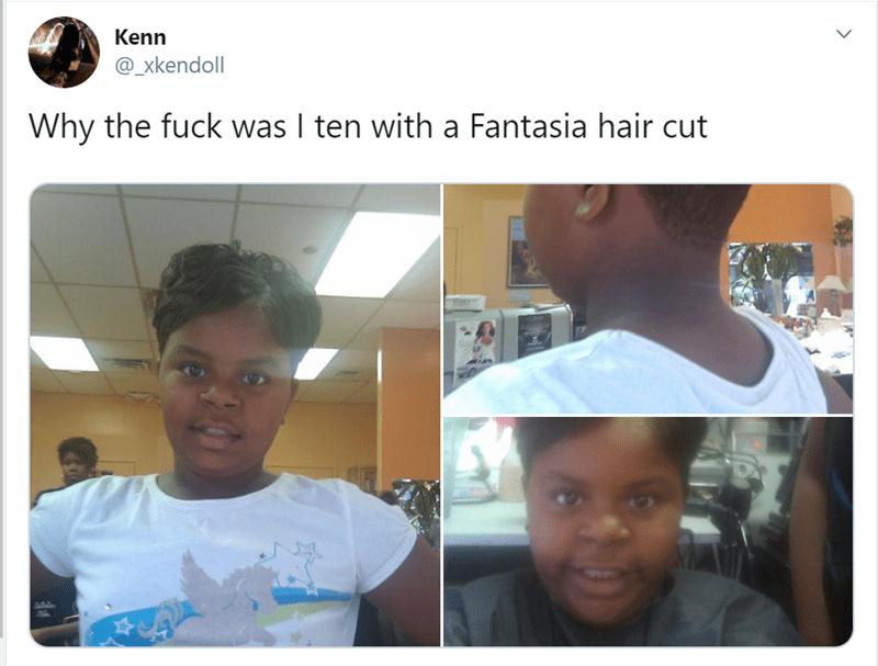 Face - Kenn @_xkendoll Why the fuck was I ten with a Fantasia hair cut >