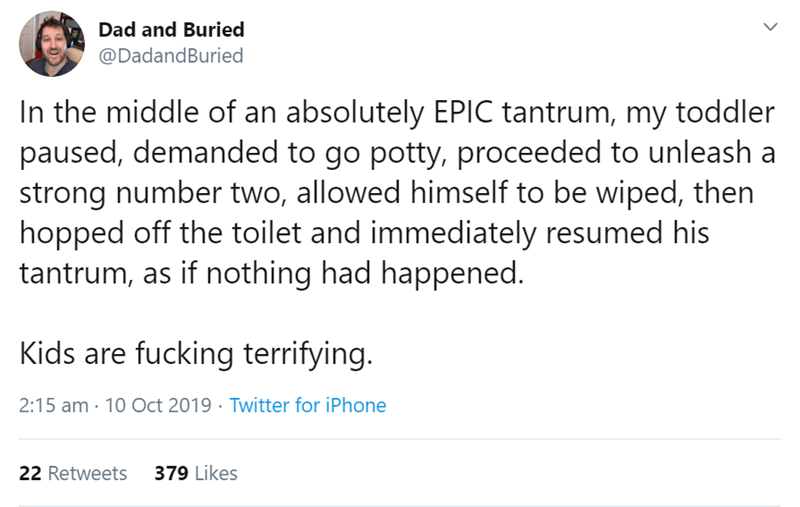 Text - Dad and Buried @DadandBuried In the middle of an absolutely EPIC tantrum, my toddler paused, demanded to go potty, proceeded to unleash strong number two, allowed himself to be wiped, then hopped off the toilet and immediately resumed his tantrum, as if nothing had happened. Kids are fucking terrifying. 2:15 am 10 Oct 2019 Twitter for iPhone 379 Likes 22 Retweets