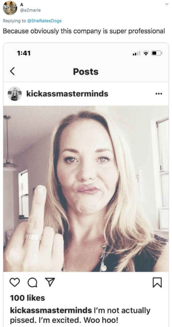 Face - @a2marie Replying to @SheRatesDogs Because obviously this company is super professional 1:41 < Posts kickassmasterminds 100 likes kickassmasterminds I'm not actually pissed. I'm excited. Woo hoo!