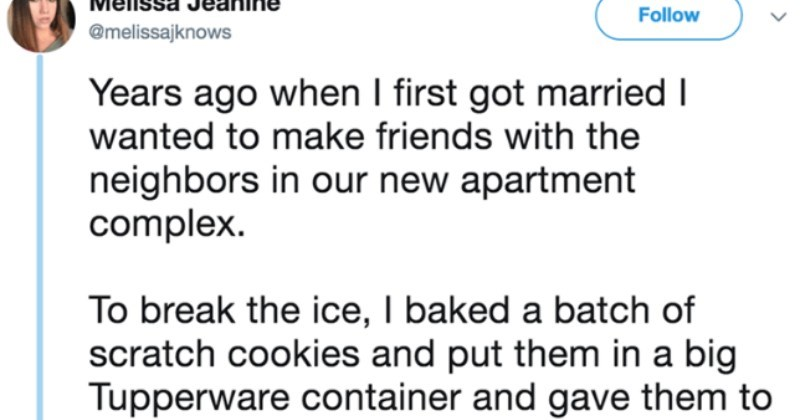 Woman on Twitter proceeds to shame people for being broke | Melissa Jeanine Follow @melissajknows Years ago first got married wanted make friends with neighbors our new apartment complex break ice baked batch scratch cookies and put them big Tupperware container and gave them girls at office.
