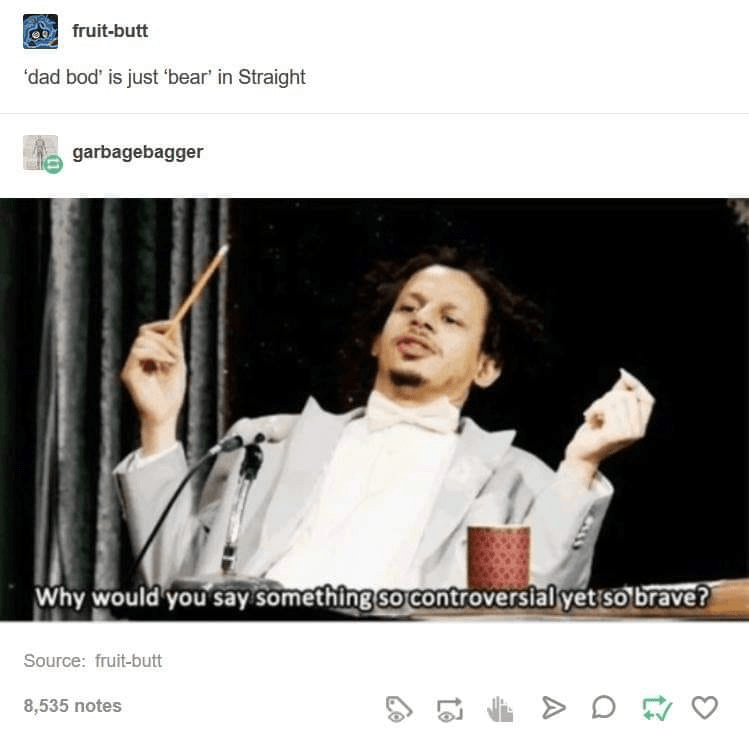 Text - fruit-butt 'dad bod' is just 'bear' in Straight garbagebagger Why would you say something so controverslal yet so brave? Source: fruit-butt 8,535 notes