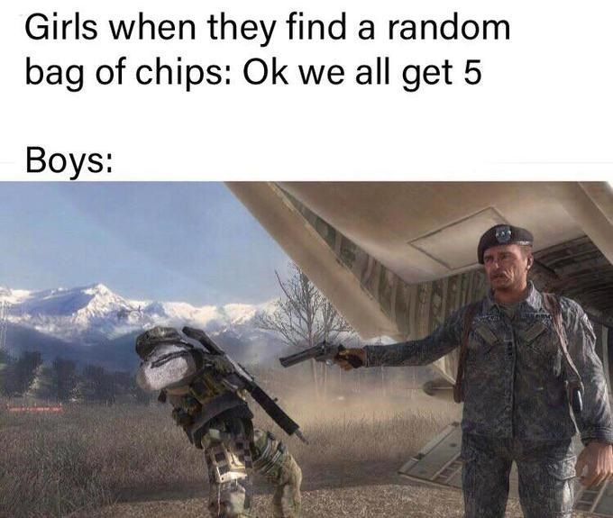Action-adventure game - Girls when they find a random bag of chips: Ok we all get 5 Boys: