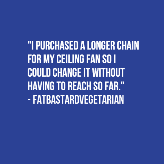 """Text - """"I PURCHASED A LONGER CHAIN FOR MY CEILING FAN SOI COULD CHANGE IT WITHOUT HAVING TO REACH SO FAR."""" FATBASTARDVEGETARIAN"""