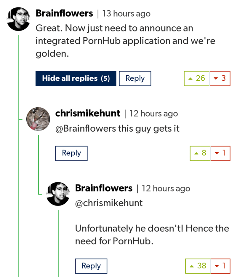 Text - Brainflowers   13 hours ago Great. Nowjust need to announce an integrated PornHub application and we're golden. Hide all replies (5) Reply 26 3 chrismikehunt   12 hours ago @Brainflowers this guy gets it Buen 1 Reply 8 Brainflowers   12 hours ago @chrismikehunt Unfortunately he doesn't! Hence the need for PornHub. 38 Reply