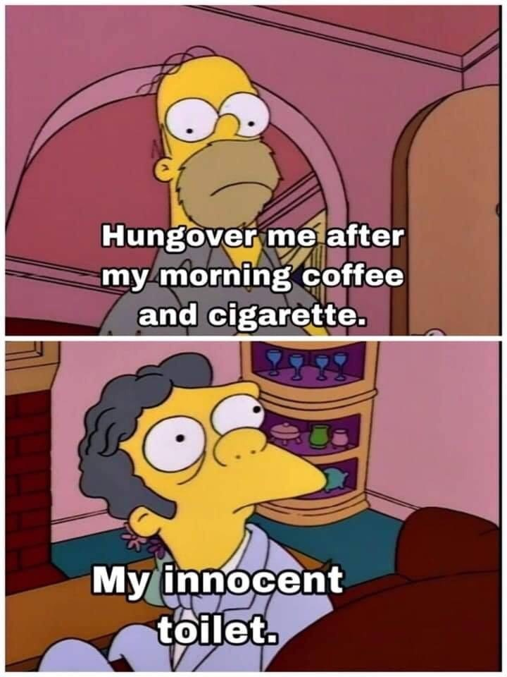 Cartoon - Hungover me after my morning coffee and cigarette. My innocent toilet