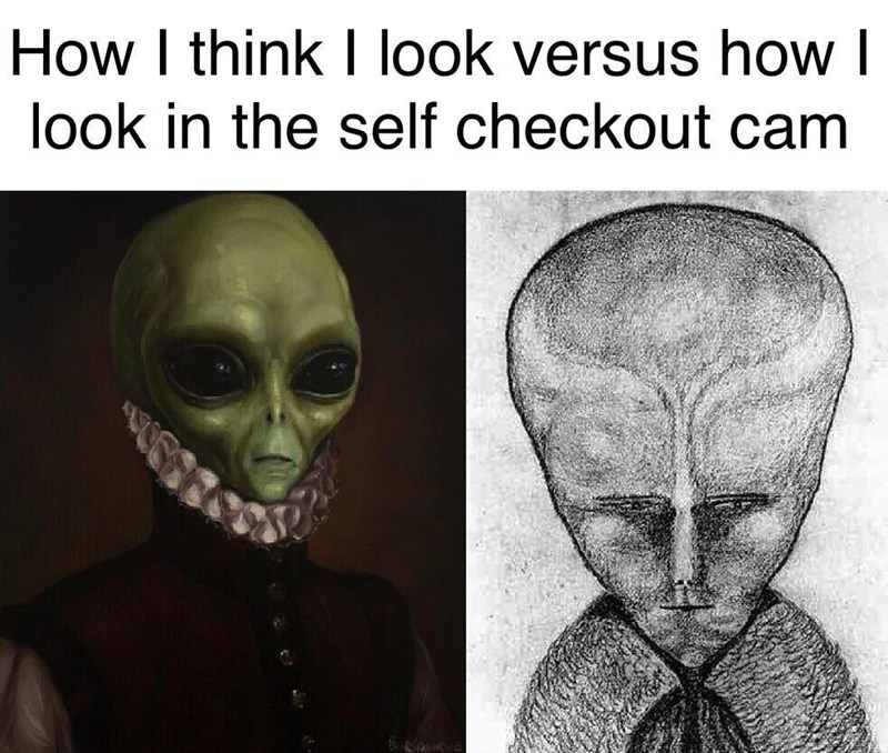Face - How I think look versus how look in the self checkout cam