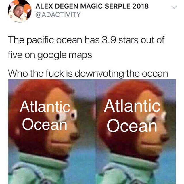 Text - ALEX DEGEN MAGIC SERPLE 2018 @ADACTIVITY The pacific ocean has 3.9 stars out of five on google maps Who the fuck is downvoting the ocean Atlantic Осеan Atlantic Осean
