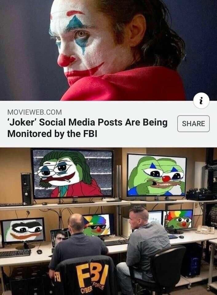 Technology - i MOVIEWEB.COM Joker' Social Media Posts Are Being Monitored by the FBI SHARE FEI FORCE CYBER