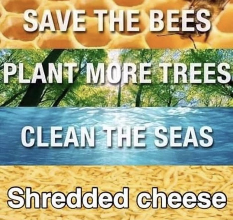 Font - SAVE THE BEES PLANT MORE TREES CLEAN THE SEAS Shredded cheese