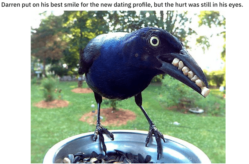Bird - Darren put on his best smile for the new dating profile, but the hurt was still in his eyes.