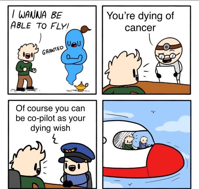 Cartoon - IWANNA BE ABLE TO FLY You're dying of cancer veu GRANTED Of course you can be co-pilot as your dying wish