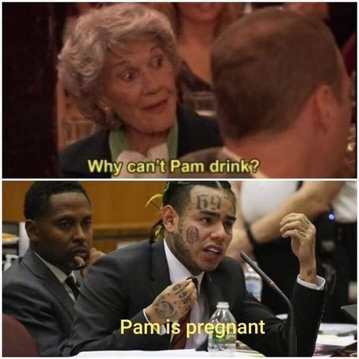 Facial expression - Why can't Pam drink? Pamis pregnant