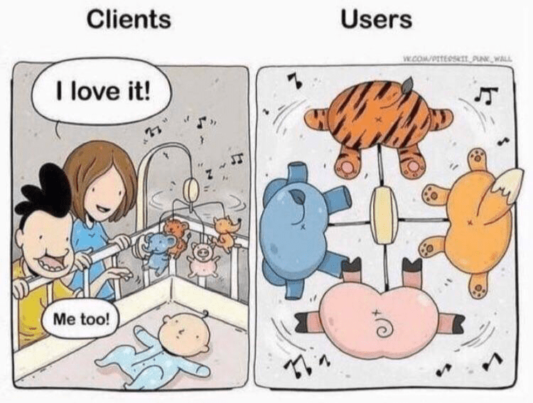 Cartoon - Clients Users w.cOW/PTEeS PAK WALL I love it! Me too!