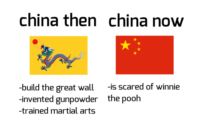 Text - china then china now -is scared of winnie -build the great wall -invented gunpowder -trained martial arts the pooh