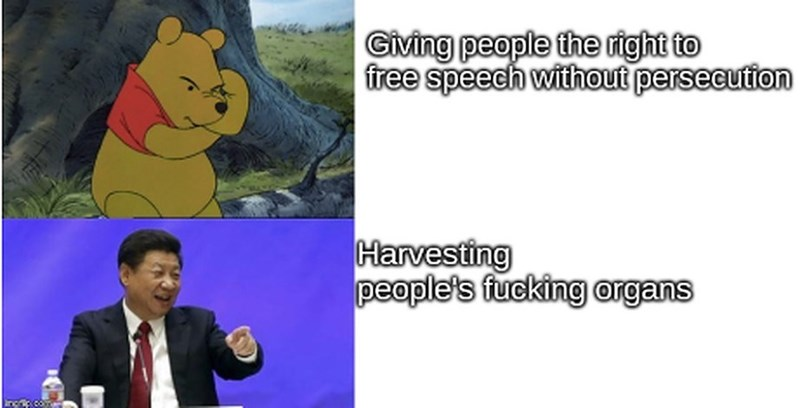 Cartoon - Civing people the right to free speech without persecution Harvesting people's fucking argans
