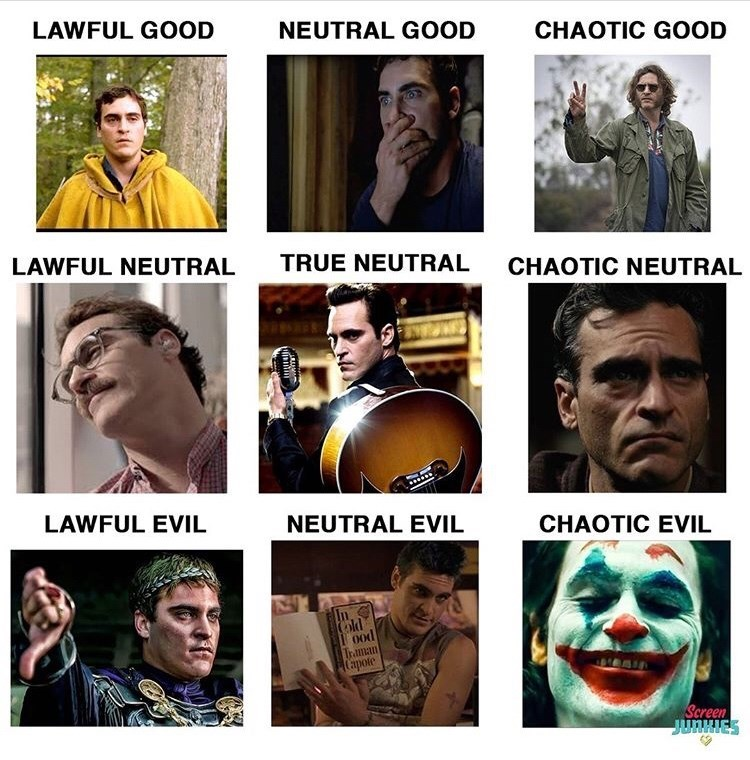 People - LAWFUL GOOD NEUTRAL GOOD CHAOTIC GOOD LAWFUL NEUTRAL TRUE NEUTRAL CHAOTIC NEUTRAL LAWFUL EVIL NEUTRAL EVIL CHAOTIC EVIL 0od Traman Capote Screen JUNHIES
