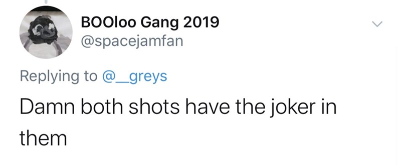 Text - BOOLOO Gang 2019 @spacejamfan Replying to @ greys Damn both shots have the joker in them