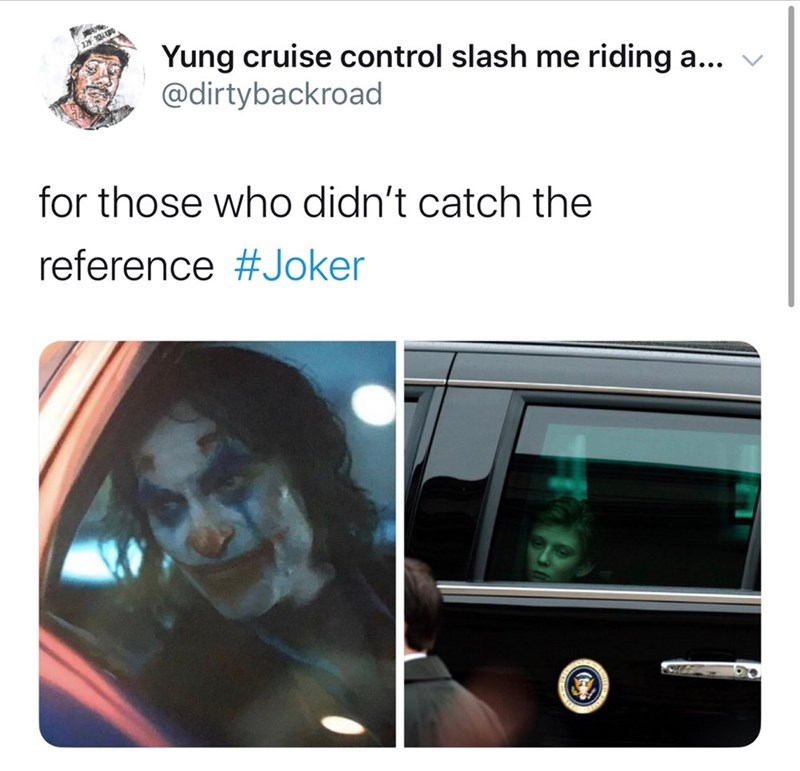 Text - Yung cruise control slash me riding a... @dirtybackroad aYO SEE for those who didn't catch the reference #Joker