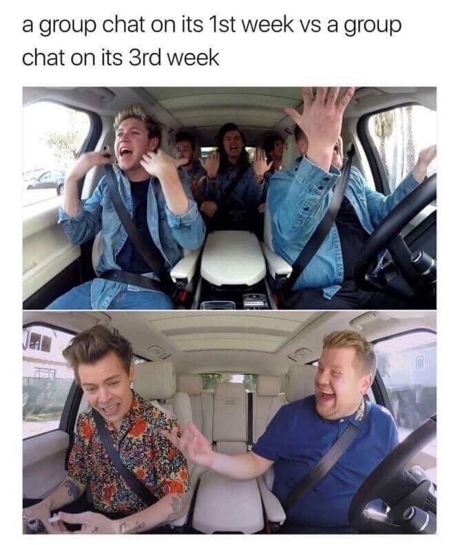 Transport - a group chat on its 1st week vs a group chat on its 3rd week