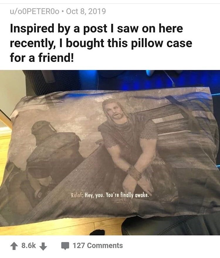 Text - u/O0PETERO0 Oct 8, 2019 Inspired by a post I saw on here recently, I bought this pillow case for a friend! Ralof: Hey, you. You're finally awake. 8.6k 127 Comments