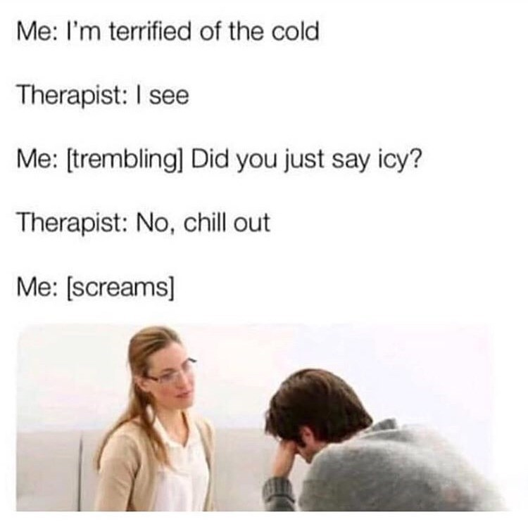 Text - Me: I'm terrified of the cold Therapist: I see Me: [trembling] Did you just say icy? Therapist: No, chill out Me: [screams]