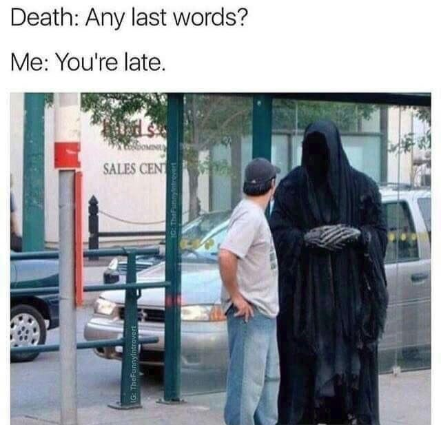 Snapshot - Death: Any last words? Me: You're late. OMIN SALES CENT IG: TheFunnylintrovert 1c: TheFunnyntrevert