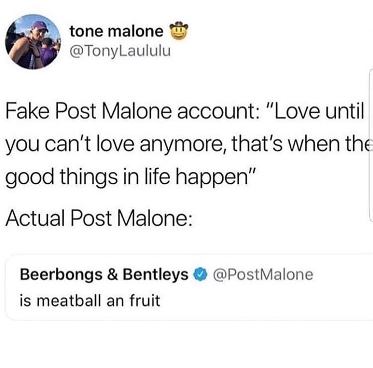 "Text - tone malone @TonyLaululu Fake Post Malone account: ""Love until you can't love anymore, that's when the good things in life happen"" Actual Post Malone: Beerbongs & Bentleys @PostMalone is meatball an fruit"