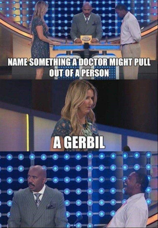 "Funny game show moment where the question reads, ""NAME SOMETHING A DOCTOR MIGHT PULL OUT OF A PERSON;"" contestant answers, ""A GERBIL"""