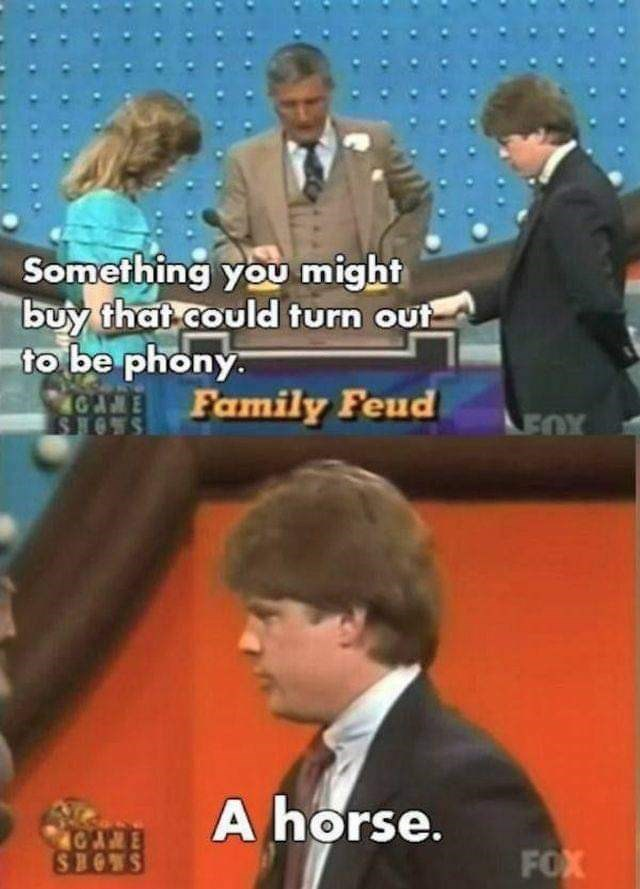News - Something you might buy that could turn out to be phony. Family Feud LEOX SHOWS A horse. AE SHOWS FOX