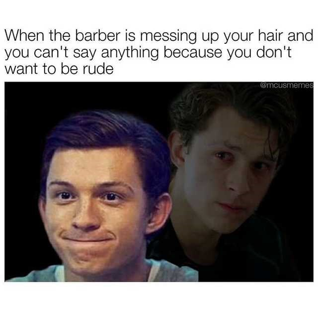 Face - When the barber is messing up your hair and you can't say anything because you don't want to be rude @mcusmemes