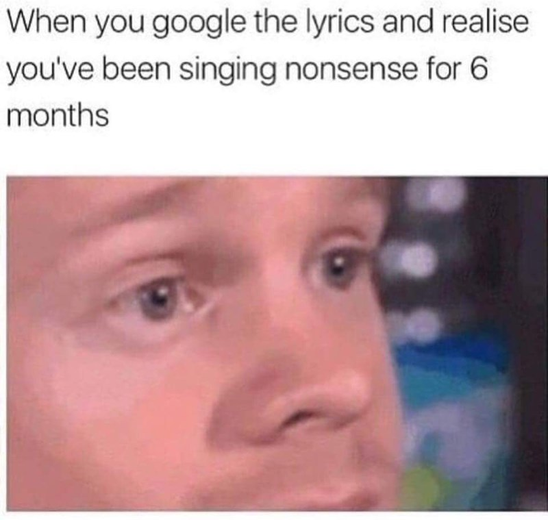 Face - When you google the lyrics and realise you've been singing nonsense for 6 months