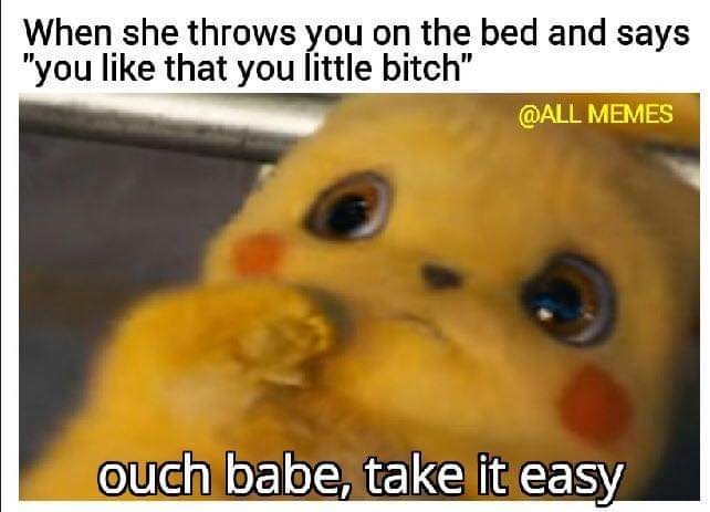 """Photo caption - When she throws you on the bed and says """"you like that you little bitch"""" @ALL MEMES ouch babe, take it easy"""