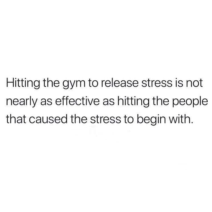Text - Hitting the gym to release stress is not nearly as effective as hitting the people that caused the stress to begin with