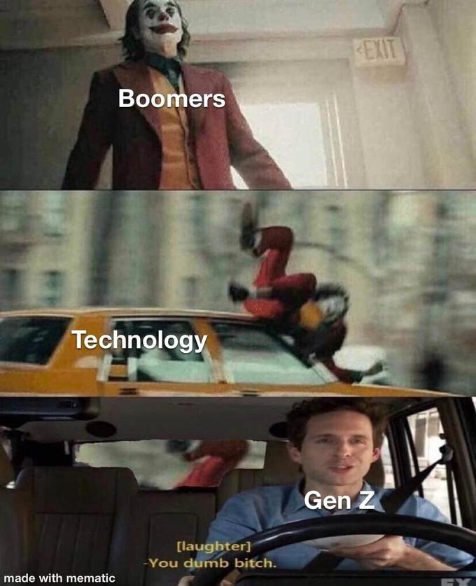 Fictional character - REXIT Boomers Technology Gen Z [laughter) You dumb bitch. made with mematic