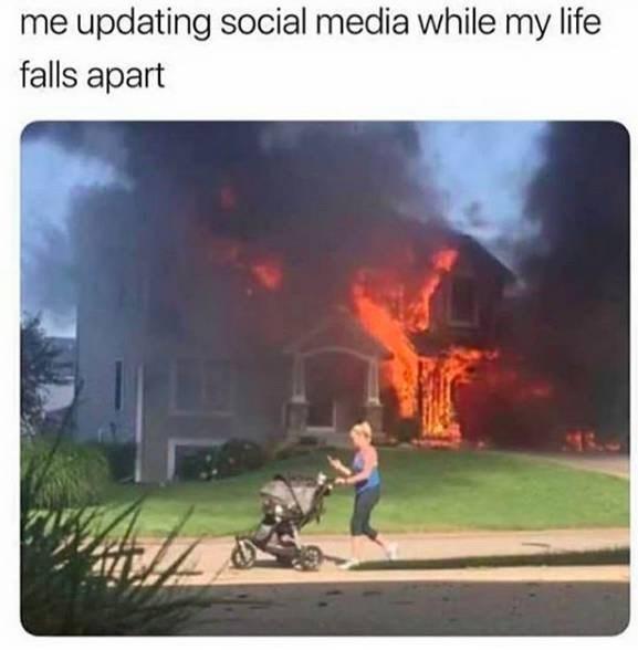 Sky - me updating social media while my life falls apart