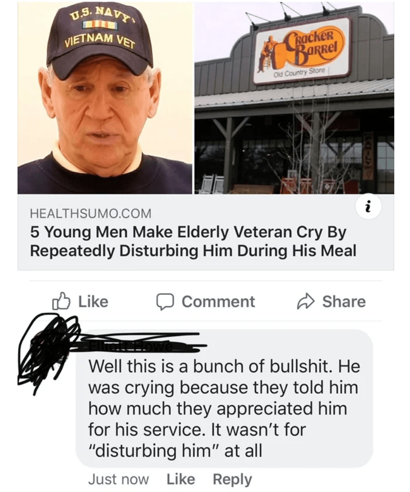 """Cap - U.S. NAVY CRACKER BaRRel VIETNAM VET Old Country Store i HEALTHSUM0.COM 5 Young Men Make Elderly Veteran Cry By Repeatedly Disturbing Him During His Meal Like Share Comment Well this is a bunch of bullshit. He was crying because they told him how much they appreciated him for his service. It wasn't for """"disturbing him"""" at all Just now Like Reply"""