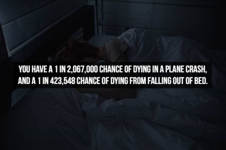 Black - YOU HAVE A 1 IN 2,067,000 CHANCE OF DYING IN A PLANE CRASH, AND A 1 IN 423,548 CHANCE OF DYING FROM FALLING OUT OF BED.