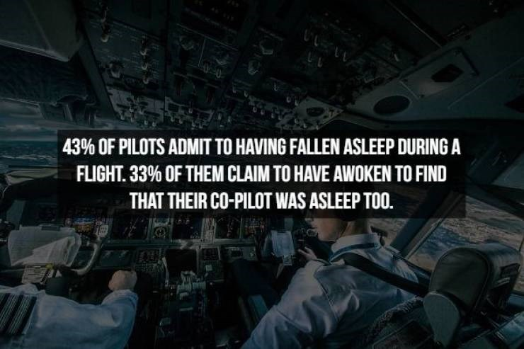 Aerospace engineering - 43% OF PILOTS ADMIT TO HAVING FALLEN ASLEEP DURING A FLIGHT 33% OF THEM CLAIM TO HAVE AWWOKEN TO FIND THAT THEIR CO-PILOT WAS ASLEEP TOO.