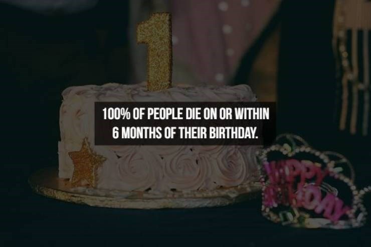 Cake - 100% OF PEOPLE DIE ON OR WITHIN 6 MONTHS OF THEIR BIRTHDAY DA