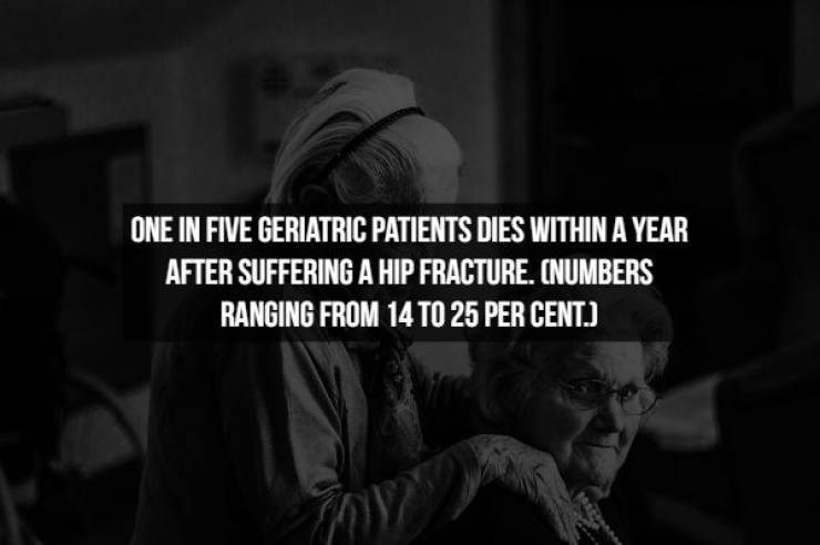 Text - ONE IN FIVE GERIATRIC PATIENTS DIES WITHIN A YEAR AFTER SUFFERING A HIP FRACTURE. CNUMBERS RANGING FROM 14TO 25 PER CENT.